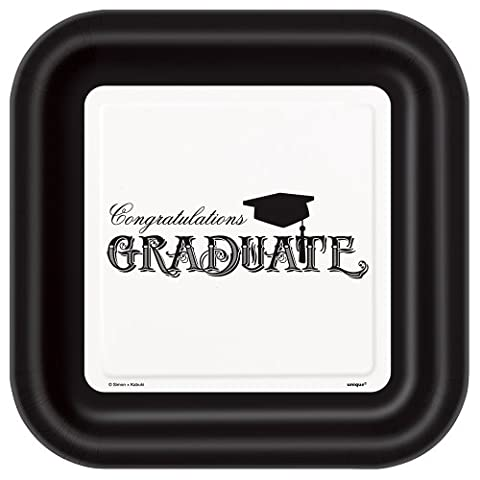8 x Graduation Mortar Board party paper plates 9 inch