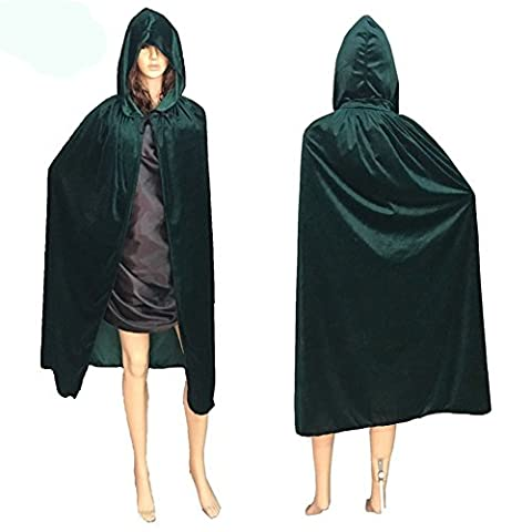 Ouvin Unisex Adult Cape One Size Velvet Hooded Cloak for Halloween Party Cosply Green