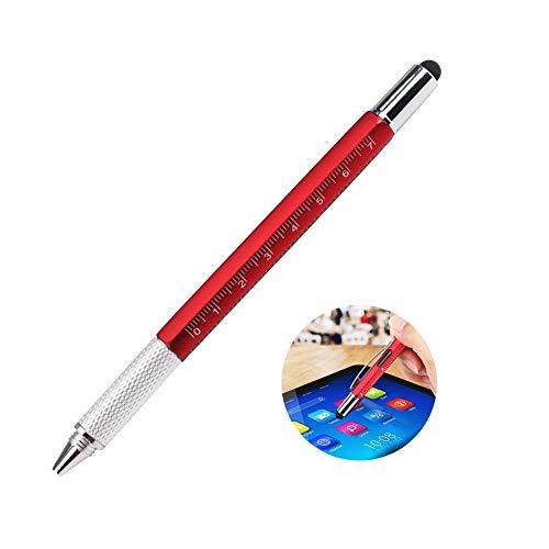 Gaocunh Multi Tools Pen - 6 in 1 Touch Screen Stylus Pen mit Skala, Wasserwaage, Kleiner Schraubendreher-Set, schwarz Gadget Kugelschreiber rot Touch-screen-tools