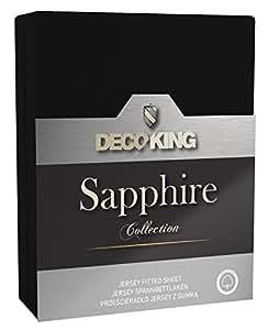 DecoKing 19061 Spannbettlaken 120 x 200 - 140 x 200 cm Jersey 100% Baumwolle Boxspringbett Spannbetttuch Sapphire Collection, schwarz