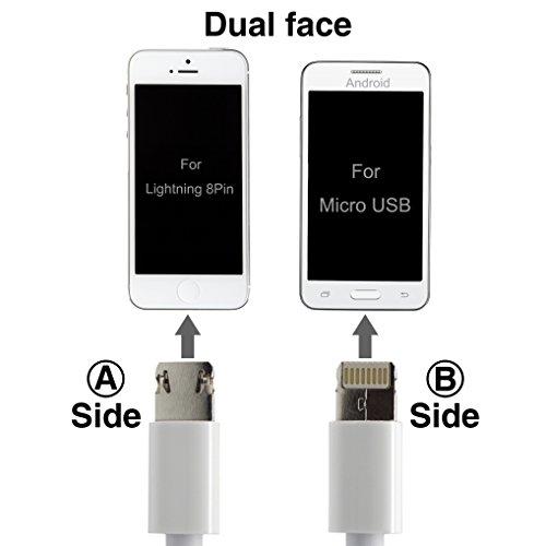 iPhone Ladegerät führen, 3,3ft Universial USB-A-Kabel mit Lightning Micro USB 2in 1Connector Ultra-High-Lebensdauer Sync und Ladekabel für Apple iPhone 6/6Plus/6S, iPad Air 2, für Samsung Galaxy S5/S6,, HTC, Motorola, Nokia und mehr (weiß)