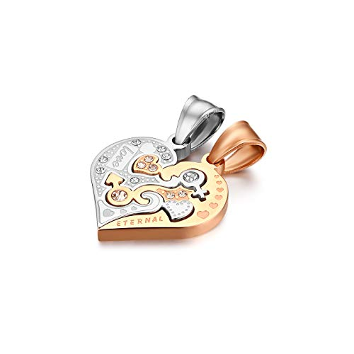 Flongo Partner Anhänger Halskette Partnerketten, 2 Stück Edelstahl Halskette Kette mit Eternal Love Gravur Herz Puzzler Anhänger Silber Rose Gold Partnerschmuck Herren,Damen