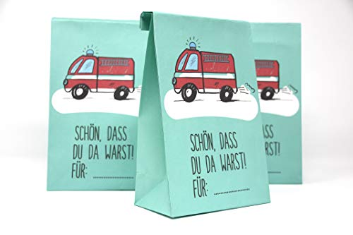 8 Stück Mitgebseltüten - Papiertüten - Geschenktüten zum Verpacken von Geschenken, Giveaways, Gastgeschenke zum Kindergeburtstag Feuerwehr - (passende Einladungskarten unter ASIN B07DFGKVRX) - Party Feuerwehr