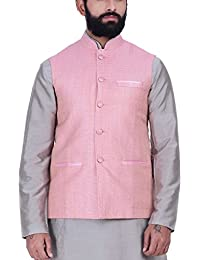 Kisah Coral Pink Khadi Jaquard Men's Waistcoat