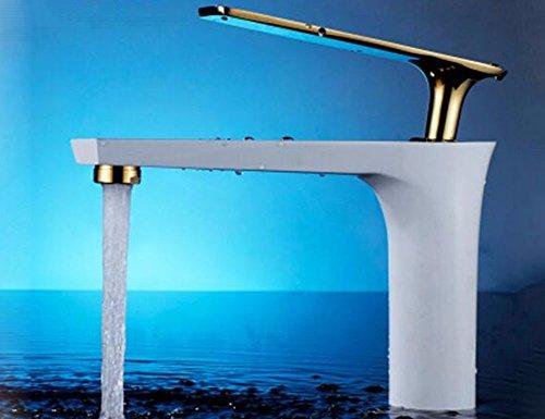 LHbox Das Gehäuse aus Messing Wasserhahn, WC Einloch Waschbecken Wasserhahn, Kalt und Whirlpool Pool Tisch, Schwarz-weiß Lack Backen Armaturen, B (Pool-tisch Lack)