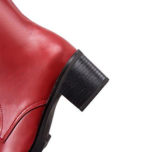 AllhqFashion Damen Rein Mittler Absatz Rund Zehe Reißverschluss Stiefel Rot