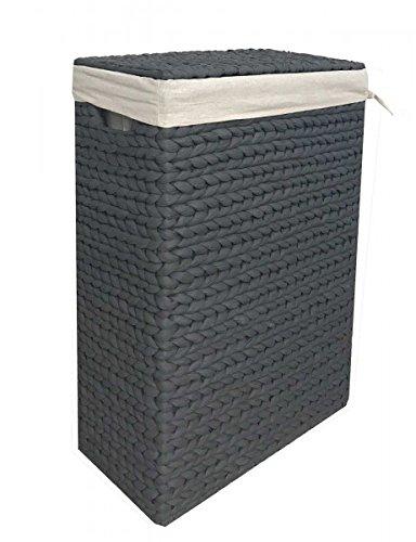 animal-design Nischen-Wäschekorb Wäschesammler Wäschebox Wasserhyazinthe grau mit Stoffeinsatz