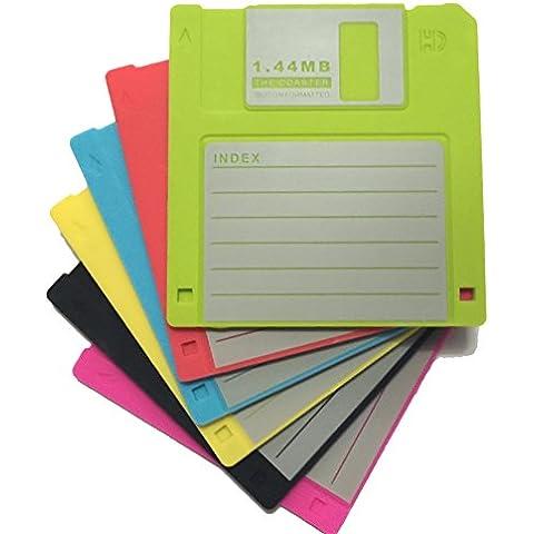 PHT Etiqueta blanqueó silicona Retro 3,5 pulgadas disquete Todas las condiciones meteorológicas Posavasos , 4.7 x 3.6