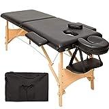 TecTake Table de massage 2 zones pliante cosmetique lit de massage portable + housse de transport - diverses couleurs au choix - (Noir | No. 401463)...