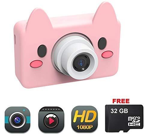 Happyroom Kinder Kamera, Kids Camera Digitalkamera Autofokus Gesichtserkennung Auto Farbe 4 Filter mit HD 1080/ 8 Megapixel/ 2-Zoll-LCD/ 32G TF-Karte (pink) 1080-hd-kamera