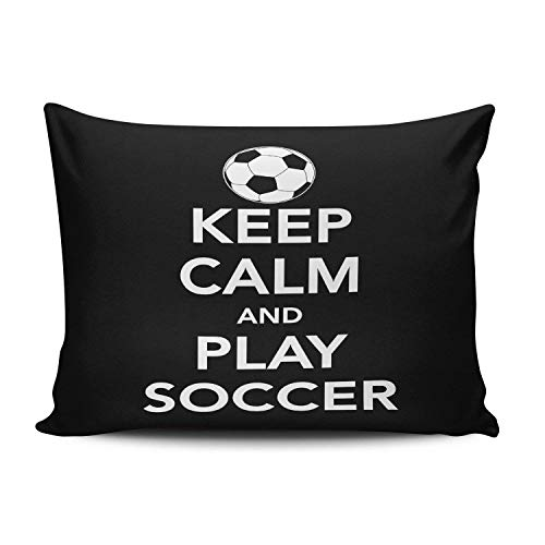 Nifdhkw Custom Royal Modern Black and White Keep Calm and Play Soccer Boudoir Kissencase Rectangle Zippered One Side Printed 20x30 Inches Throw Kissen Case Cushion Cover -