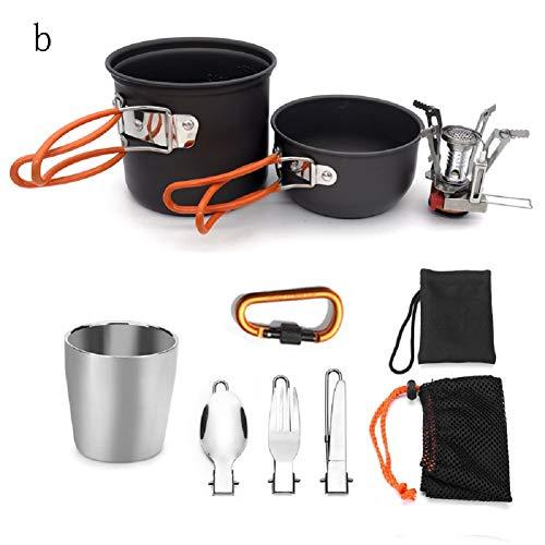 Danping Kit Di Stoviglie Da Campeggio All\'aperto Utensili Da Cucina Durevoli E Leggeri Set Per 1-2 Persone Camping Backpacking Hiking Picnic (arancione)