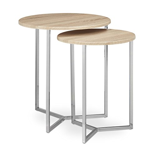 Relaxdays Table Console Ronde Lot de 2 diamètre 50 et 40 cm Table d'appoint Plateau Rond en Bois canapé Table gigogne Pieds en métal chromés Stables Bar Restaurant Salon Moderne, Nature