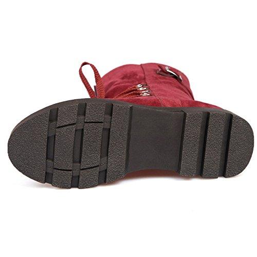 COOLCEPT Dame-Punk süßen Wildleder flache Schuhe bequem Schnürung zur Mitte der Wade Martin Stiefel Rot