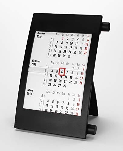 HiCuCo 3-Monats-Tischkalender für 2 Jahre (2019 und 2020) - Aufstellkalender - mit Drehmechanik - schwarz - TypD2