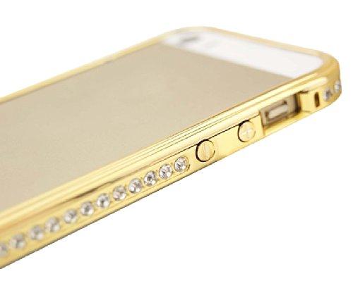 Uming Bunte Strass Bumper Hülle für Apple IPhone 5S IPhone5 5G Colorful Bling glänzender Glitter Glanze Gradual change Gradient color Full Diamant Allmähliche Veränderung Kristall Farbverlauf Strass R Gold