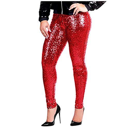 GNYD Damen Freizeithose Feste Elastische Sequined Slim Bleistifthose Lange Hosen Mode Club Party Elegante Fraue Hosen