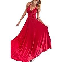 f9c724cd8 Lover-Beauty Vestido Largo Mujer para Noche y Fiesta Casual Algodón Ropa  Top Falda Espalada