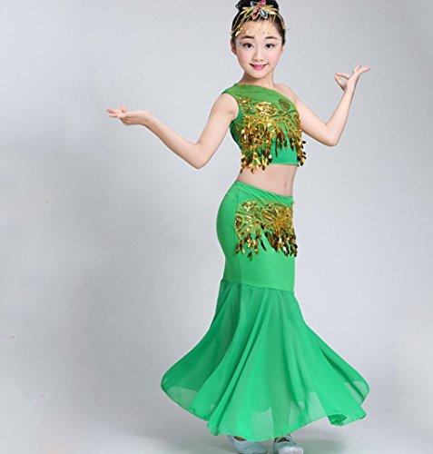 (HUOFEINIAO Mädchen Kinder Dai Fischschwanz Rock Kinder Ethnischen Tanz Kleidung Pfau Tanz Kostüm Rot/Blau/Gelb/Rosa/Grün,Green,140)