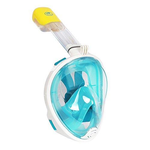 Maske Weiß Face Full (Vollgesichts Atmung Schnorchelmaske für Erwachsene und Jugendliche. Revolutionäre voll trockenen Tauchermaske mit Anti-Fog-und Anti-Leak-Technologie. Besser sehen mit 180 ° Betrachtungsfläche als herkömmliche Masken (Grün,)