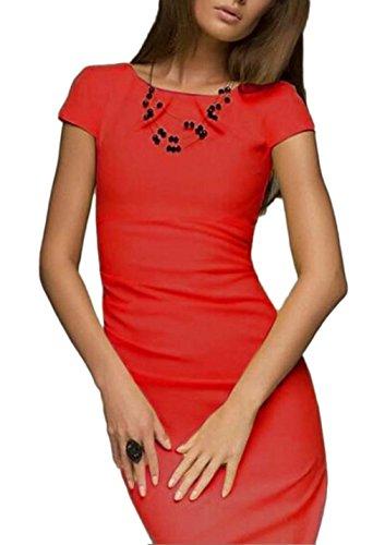Bigood Robe de Soirée Femme Eté Manche Courte Cocktail Cérémonie Mariage Elégant Rouge