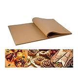 100 fogli di carta pergamena non sbiancata, 30,5 x 40,6 cm, antiaderenti, pretagliati, perfetti per cucinare grigliate, friggitrice, vapore, pane, cupcake, biscotti e altro