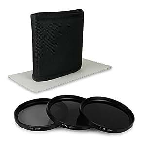 67mm ND Ensemble de filtres pour Canon EOS 40D | 5D Mark III | 60D | 6D | 7D | EOS 1D X - Nikon D5100 | D5300 | D7000 | D7100 | D90 - Olympus E-30 etc… - incl. Filtres ( ND2 + ND4 + ND8 ) + Housse pour filtre + Chiffon de nettoyage en microfibre