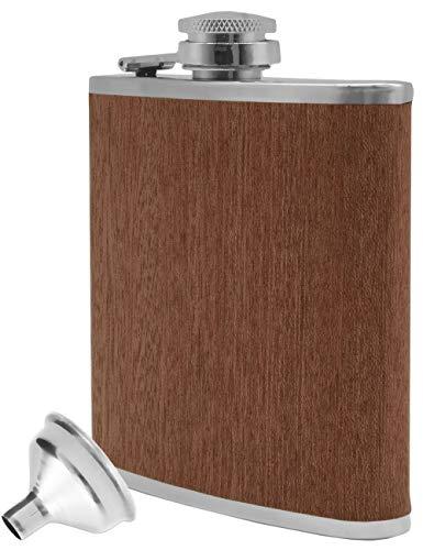 Outdoor Saxx® - Edelstahl Flachmann Wood | hochwertige Taschen-Flasche, Whiskey, Schnaps | 175 ml Schraub-Verschluss. Geschenk-Idee | Holz-Design