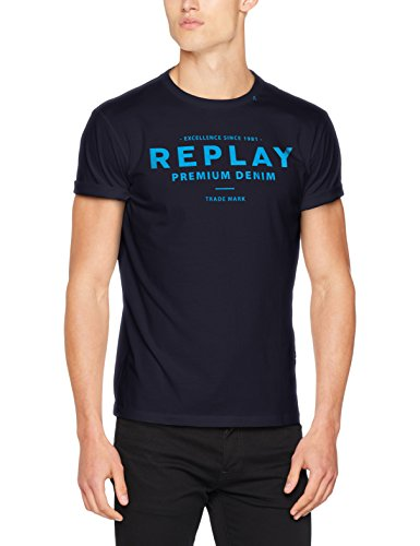 Replay Herren T-Shirt Logo Shirt, Blau (Dark Blue 882), X-Large