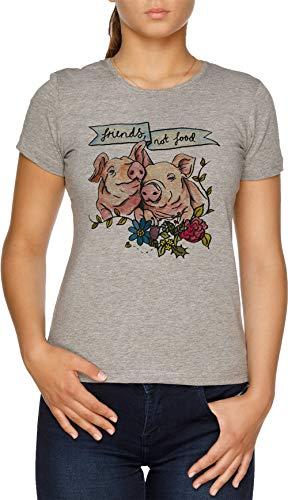 Friends, Not Food Pig Veggie Vegan Illustration Camiseta Mujer Gris