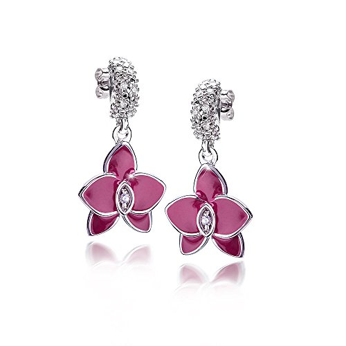 MATERIA Damen Ohrstecker lang hängend Orchidee 925 Silber Zirkonia emailliert magenta rhodiniert #SO-334