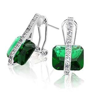 Bling Jewelry Princess Cut Emerald simulées CZ Earrings Laiton Rhodié