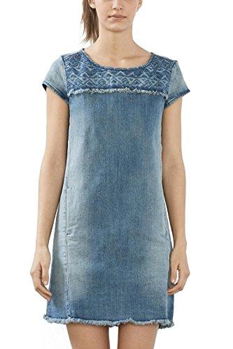 ESPRIT Damen Kleid 027EE1E017, Blau (Blue Light Wash 903), 34 (Herstellergröße: XS)