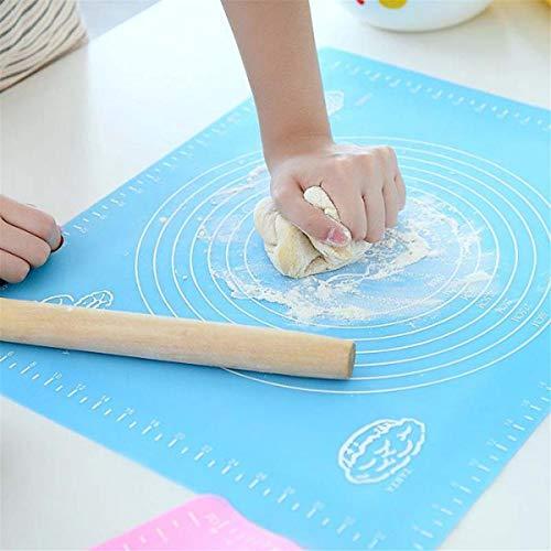 Backwerkzeuge Silikon-Teigmatte Antihaft mit Maßen für Backmatte Extra große, Rutschfeste Silikon-Teig-Rollmatte, Tisch- / Aufsatz-Tischsets und Fondant/Pie-Crust-Blatt Blau Zubehör dekorieren