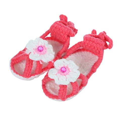 Bigood Sandales Bébé Fille Princesse Tricot Chaussure Fleur Chic