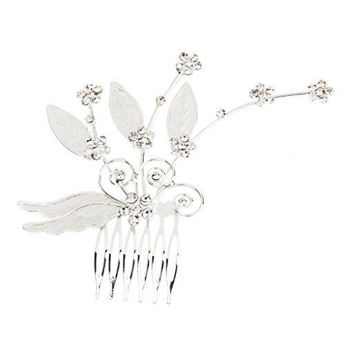 Peigne à Cheveux Décoratif Fleur de Prunier en Strass pour Mariée