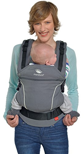 manduca First Babytrage > PureCotton Dark Grey < Ergonomische Babytrage I Bio-Baumwolle I Neues Stoff-Finishing (Soft & Fusselfrei) Bauch- Hüft- und Rückentrage für Kinder von 3,5-20kg, grau
