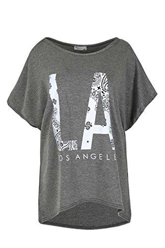 Damen überdimensional Schulterfrei Bardot Baggy Fledermausärmel Lagenlook T-Shirt Top La Los Angeles Dunkelgrau