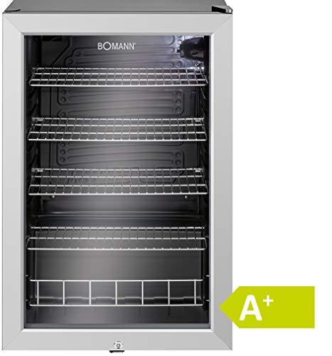 Bomann KSG 238.1 Glastür-Getränke-Flaschen-Kühlschrank, EEK A+, 115 L, HxBxT 84,5x54x54,8 cm, 110 kWh, LED Innenraumbeleuchtung