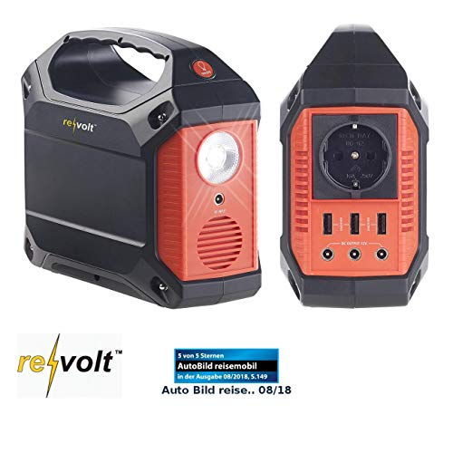 reVolt Powerstation: Solar-Konverter & Powerbank, 42 Ah, 155 Wh, 230 V, 12 V, USB, 180 Watt (Powerstation Solar)