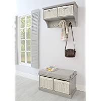 Tetbury Hallway Coat Rack and Bench. Dove Grey hanging shelf and storage bench. Fully Assembled hallway furniture.