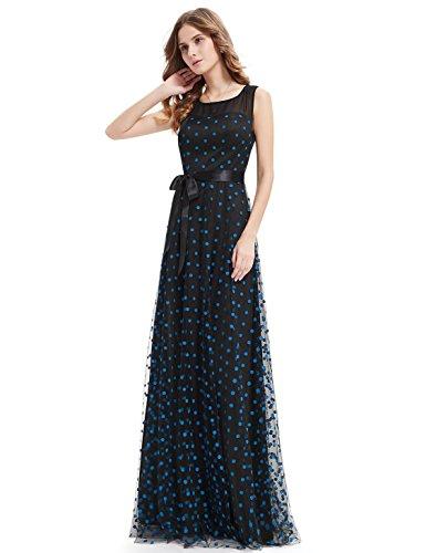 Ever Pretty Robe de Cocktail Robe de Soiree Maxi Vintage a Pois 08753 Bleu Saphir