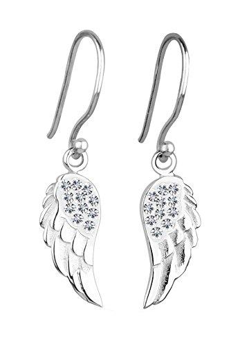 Elli Damen-Ohrhänger Flügel 925 Sterling Silber Swarovski Kristall weiß Brillantschliff 301820512
