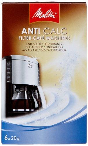 Melitta 192632 Entkalker für Filtermaschinen, 6 Pulver Beutel je 20 g, Anti Calc