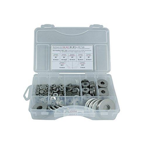 Sortiment Edelstahl A2 Karosseriescheiben DIN 9021, M3 bis M12, 305 Teile, Material: VA V2A