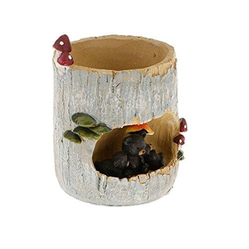 Ounona Fleur Pot de fleurs artificielles Bonsai Box Office Home Garden Décoration de pot de fleurs en forme de Ours Noir