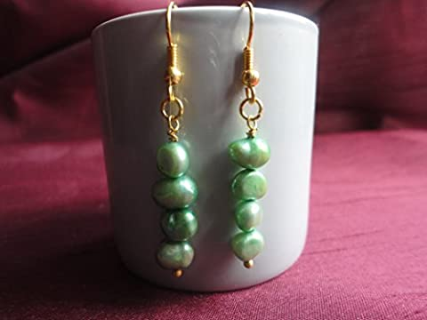 South Seas Baroque Freshwater Green Pearl Drop Earrings