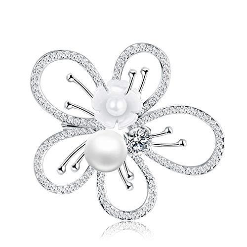 Peggy Gu schmuck Blossom Blume plattiert Zirkon Crystal Pearl Brosche Pins für Frauen, Mädchen, Damen kostüm - Accessoire (Farbe : Weiß)