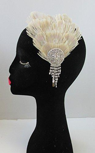 Argent et blanchi Bibi avec plumes de paon bandeau style vintage années 1920 Flapper V88 * * * * * * * * exclusivement vendu par – Beauté * * * * * * * *