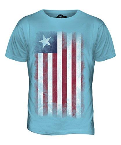 CandyMix Liberia Verblichen Flagge Herren T Shirt Himmelblau
